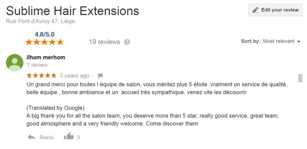 Avis Sublime Hair extensions